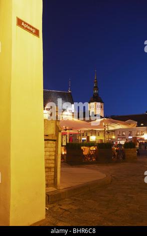 Estonia, Eastern Europe, Baltic States, Tallinn, Outdoor Cafes In Town Hall Square (Raekoja Plats) - Stock Photo