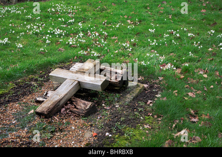 Old wooden cross with snowdrops in a Norfolk churchyard. - Stock Photo
