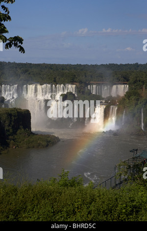 Iguazu falls seen from the brazilian side of iguacu national park, parana, brazil, south america - Stock Photo