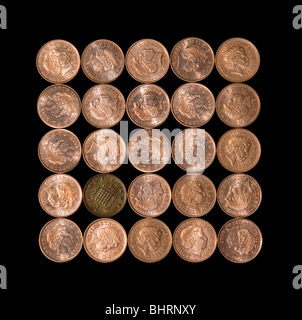 Bad Penny on a Black Background - Stock Photo