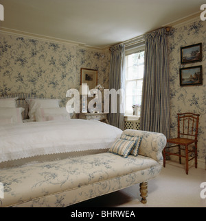 Floral Wallpaper And Matching Curtains In Cottage Attic Bedroom ...