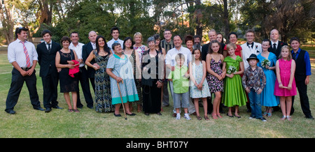 A large blended family group at a wedding in Melbourne Australia - Stock Photo