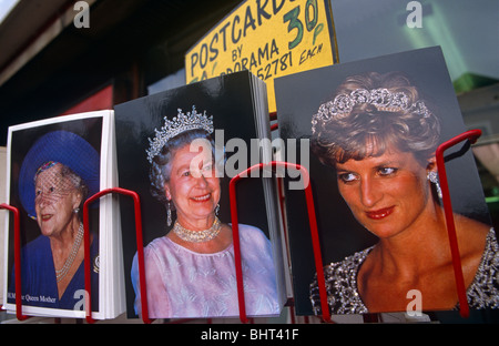 30p postcards of British royal family Queen Elizabeths and princess Diana on sale in central London. - Stock Photo