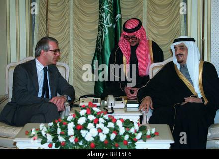JOHN MAJOR MP & KING FAHD PRIME MINISTER & ROYAL FAMILY 06 March 1991 RIYADH SAUDI ARABIA - Stock Photo