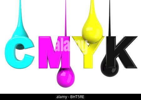 Drops in CMYK - Stock Photo