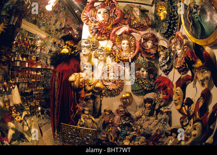 Variety of masquerade carnival masks for sale in shop near San Marco, Venice, Italy - Stock Photo