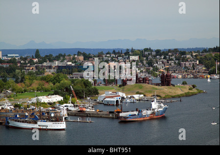 An arial view of Lake Union and Gasworks Park, Seattle. - Stock Photo