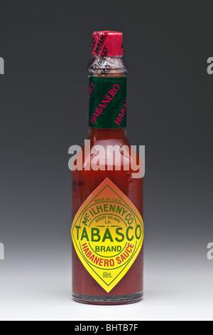 Bottle of Mcilhenny  Habanero Hot Tabasco Sauce - Stock Photo