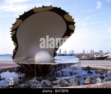 The Pearl Monument on Corniche, Doha, Ad Dawhah Municipality, State of Qatar - Stock Photo