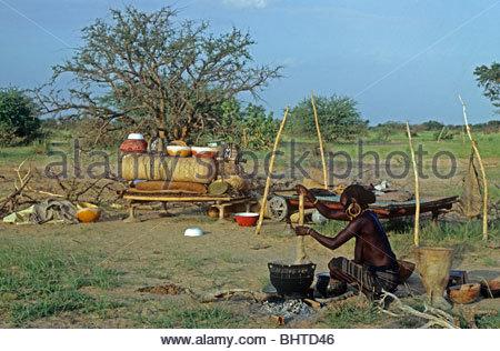 Wodaabe Nomad camp NIGER - Stock Photo