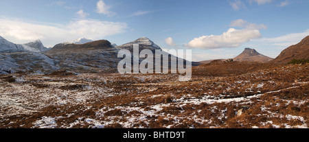 Mountain Panorama north of Ullapool, Ben Mor Coigach,Cul Mhor and Stac Polly, North West Highland Scotland on the - Stock Photo