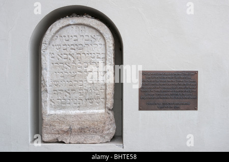 Jewish tombstone of 14th century in Graz Castle Burg, Styria, Austria, - Stock Photo