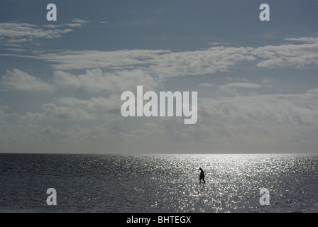 View of Biscayne Bay with woman wading  the shallow waters in Matheson Hammock park.,Miami, Florida - Stock Photo