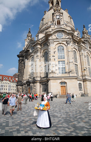 The Church of Our Lady in Dresden, Germany; (German: Dresdner Frauenkirche oder Kirche Unserer Lieben Frau) - Stock Photo
