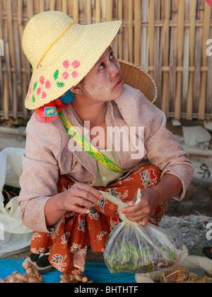 Myanmar, Burma, Aungban village, market, people, Shan State, - Stock Photo