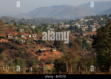 Myanmar, Burma, Kalaw, general view, mountain landscape, Shan State, - Stock Photo