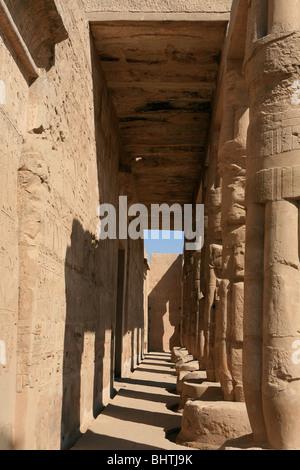 Pillars of the mortuary temple of Seti I at the Theban Necropolis near Luxor, Egypt - Stock Photo