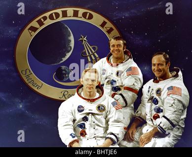 Apollo 14 Crew, Command Module pilot Stuart A. Roosa, Commander Alan B. Shepard Jr. and Lunar Module pilot Edgar - Stock Photo