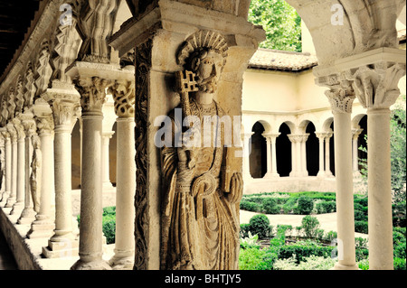 Romanesque cloisters in the Cathedral of the Holy Saviour, Cathedrale Saint Sauveur, in town of Aix en Provence, - Stock Photo