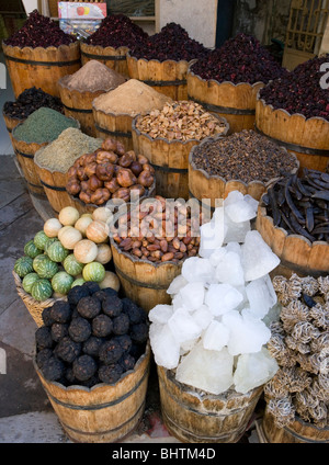 Spices at the local Bazaar in Luxor, Egypt. - Stock Photo