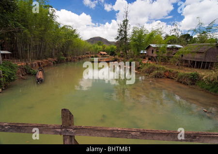 Canal on Inle lake in Myanmar - Stock Photo