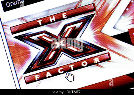 Macro screenshot of the website of The X Factor TV show - wannabe pop stars can now upload audition videos. Editorial - Stock Photo