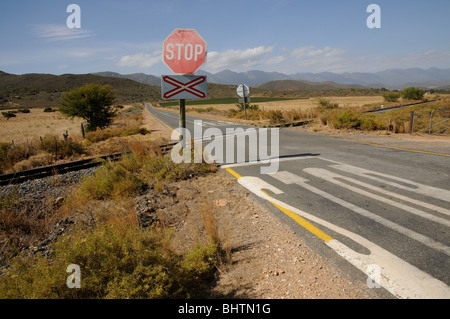 main railway line between Robertson and Worcester in the western cape South Africa passes through rural countryside. - Stock Photo