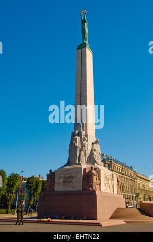 Freedom Monument (Brīvības piemineklis), Riga, Latvia - Stock Photo