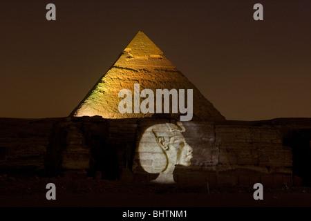 Giza Pyramids sound & light show in Cairo, Egypt. - Stock Photo