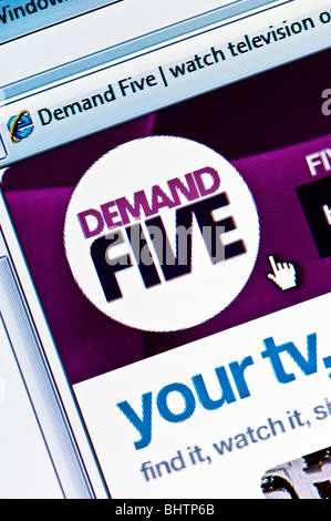 Macro screenshot of the Demand Five website - Demand Five is the 'on demand' internet service offered by the Five - Stock Photo