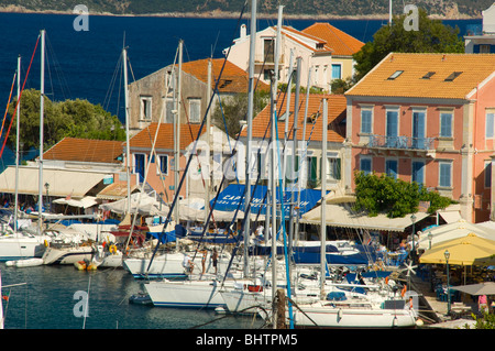 An aerial view of the harbour at Fiskardo, Kefalonia, The Ionian Islands, Greece - Stock Photo
