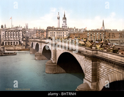 Photochrome print c1890s of the old London Bridge over the River Thames designed by engineer John Rennie and opened - Stock Photo