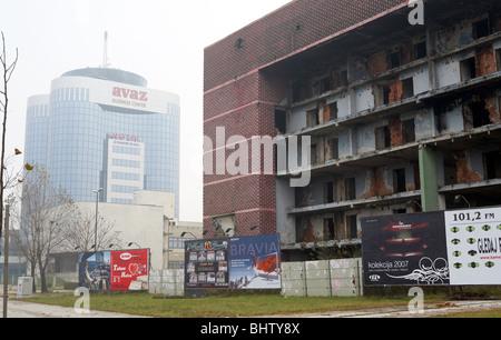 Ruins next to the Avaz Twist Tower in Sarajevo, Bosnia and Herzegovina - Stock Photo