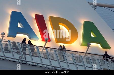Lettering of Aida on the Aida Diva passenger liner, Kiel, Germany - Stock Photo