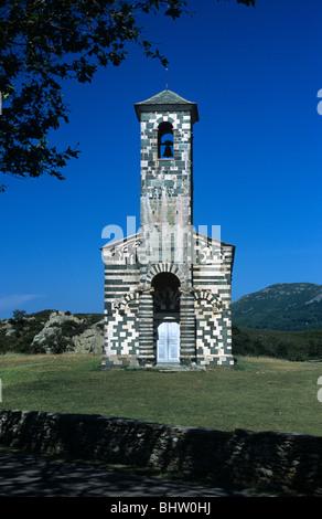 Church of San Michele de Murato (1280) & Belfry or Bell Tower, Pisan Romanesque & Polychrome Architecture, Corsica, - Stock Photo