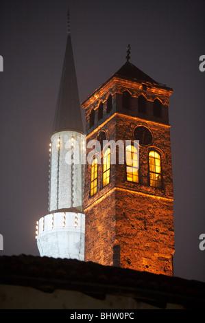 Islam and Catholic Church, Sarajevo, Bosnia and Herzegovina - Stock Photo