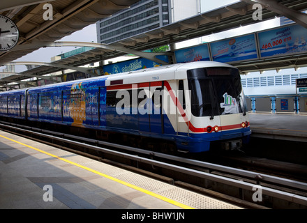 Bangkok Sky Train,  Mass Transit System, an overhead railway system, commonly known as the BTS Skytrain, Thailand. - Stock Photo