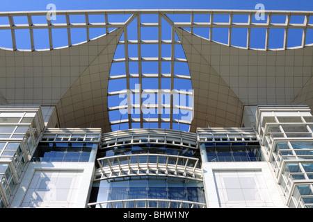 Shanghai Urban Planning Exhibition Hall upper facade - Stock Photo