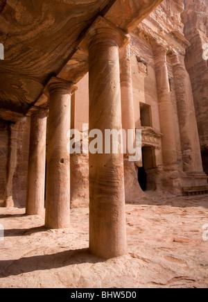 Urn tomb at the ancient red rose city of Petra in Wadi Musa, Jordan. - Stock Photo