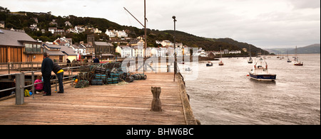Pier / Jetty and sailboats on sea, Aberdyfi, Aberdovey Harbour, North Wales - Stock Photo