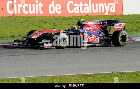 Mark Webber driving for the Red Bull Racing team during testing at the Circuit de Catalunya, Montmelo, Spain 2010 - Stock Photo