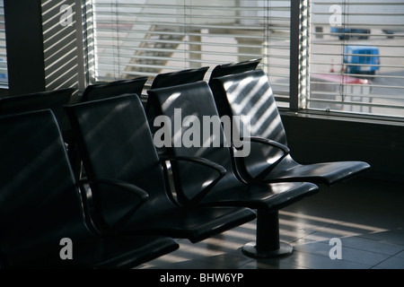 airport chairs in a row - Stock Photo
