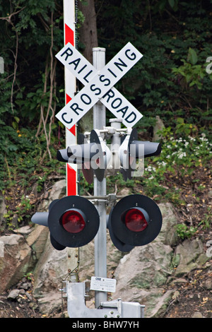 Railroad crossing sign and barrier  in USA nobody not no people isolated - Stock Photo