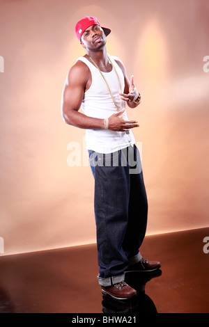 Rapper attitude of a young African American - Stock Photo
