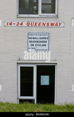 No Ball games council sign on a block of flats in Queensway, Brighton, East Sussex, UK. - Stock Photo