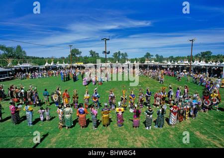 Powwow dancers during Annual Crow Fair, at Crow Agency, Montana, USA - Stock Photo