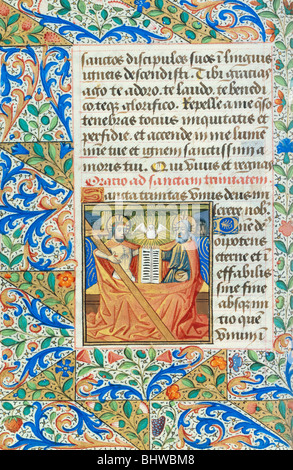 Prayer to The Holy Trinity, from the Playfair Book of Hours. Rouen, France, late 15th century - Stock Photo