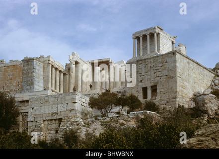 Acropolis, Temple to Athena Nike to the right of the Propylaea, Athens, Greece 680215_025 - Stock Photo