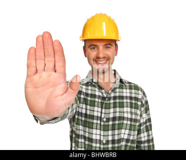 young handyman in stop gesture isolated on white - Stock Photo