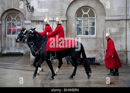 The Queens Lifeguards, Horseguards Parade, London, England - Stock Photo